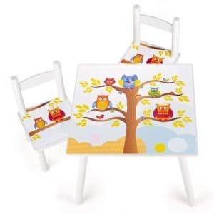 Kindertisch mit Stühlen - Eulenmotiv