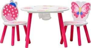 Kindertisch und Stühle mit Marienkäfer und Schmetterling